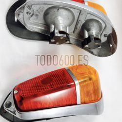 Pilotos traseros Seat 600d, base de aluminio y goma de junta